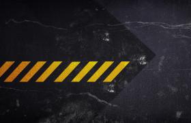黑色炫酷震动背景黄色斑马线动态演绎特效片头视频素材