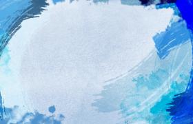蓝色笔刷边框涂刷动画水墨特效视频素材
