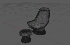竹篓编制创意性简约格调家具座椅套件C4D模型下载
