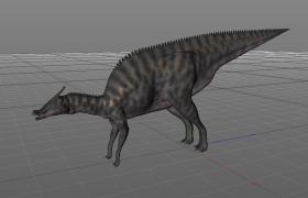 北美洲食草性恐龙鸭嘴龙科Saurolophus白垩纪栉龙C4D模型
