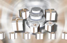 白色精美礼盒围绕蛋糕旋转节日庆祝特效视频素材
