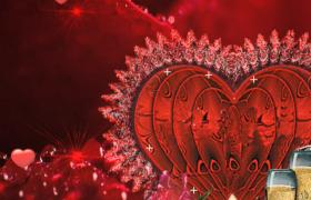 愛心晶體閃爍粒子耀眼演繹婚慶浪漫特效視頻