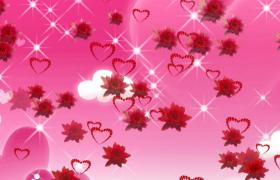 粉色白云卡通背景鮮花愛心浪漫飄落HD婚慶特效視頻