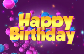 七彩碎片漂亮气球热闹演绎生日庆祝特效视频素材
