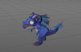 Low Poly亚古兽幼年期小恐龙天蓝色动漫卡通角色C4D模型