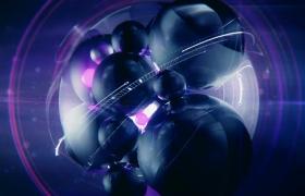 紫色魔力光球旋转黑色球体变幻科技片头特效视频素材