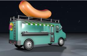 美式热狗香肠Hot Dog Car多功能移动售货餐车Cinema4D模型