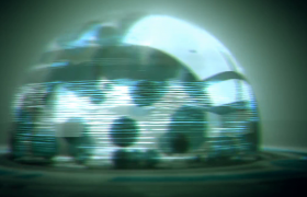 玻璃罩光效闪烁3D几何石块坠落LED动感舞台背景视频