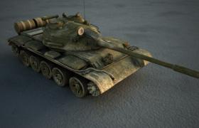 前苏联T-55主战坦克军事战争陆地作战大型武器C4D模型