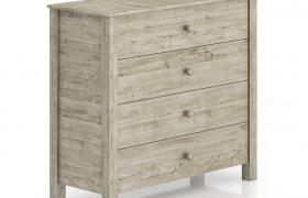 四抽屉橡木材质收纳柜Storage cabinet北欧风格家具C4D模型(含贴图)