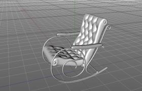 老人休閑夏日午睡軟性靠墊家用藤搖椅C4D模型