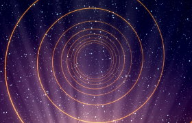 紫色粒子星空黃色光線漩渦隧道沖擊震撼特效視頻素材