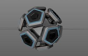 单人回合角色扮演游戏科幻太空宇宙5边形块状球体飞船C4D模型