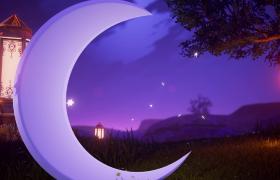 紫色梦幻夜空月亮灯笼童话般呈现儿童欢庆视频素材