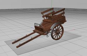 古代双轮木质马车架Wooden Cart历史艺术品C4D模型