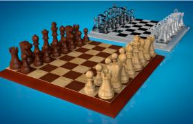 两种不同材质纹理的休闲类棋牌道具国际象棋C4D模型