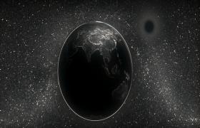 闪烁银海星空黑白虚拟地球炫酷转动MOV科技特效视频
