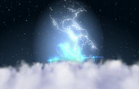 粒子星际雾翻腾光效地球旋转飞机震撼驶出MOV特效视频素材