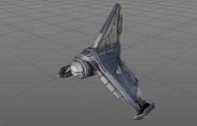 国际空间站外太空三支架棱形科幻宇宙飞行器Aerocraft C4D Model下载