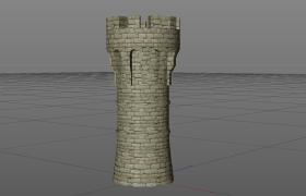 騎馬與砍殺2:霸主vray材質渲染城堡圓形瞭望塔石頭建筑C4D工程模型