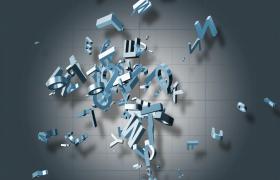 格子科技背景3D字母三维视觉旋转演绎科技片头视频素材