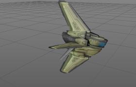 六尾翼螺旋设计科幻太空飞船Airship宇宙巡航飞机Cinema4D模型