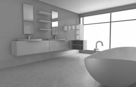 精美整潔的白色格調家居室內裝橫設計C4D場景模型(含材質)
