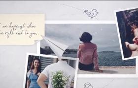 纸飞机在记录人们生活的照片上飞行AE模板
