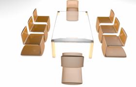 光泽亮丽的透明玻璃材质精品餐桌座椅套装C4D模型展示