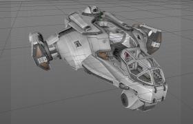 星际迷航宇宙科幻飞船机舱Cinema4D模型展示(含材质)