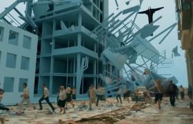 模拟灾难现场房屋倒塌毁灭性创意宣传广告视频素材