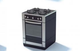 家居厨房用品家用燃气灶台C4D标准物理模型