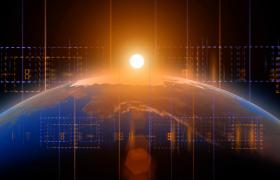 黄色光点照耀地球震撼旋转抽象数据快速变化科技片头特效视频