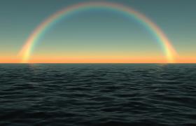 深蓝海水荡漾天边彩虹绚丽浮现清新海景实拍视频素材