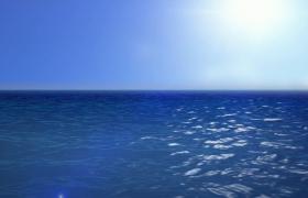 蔚藍大海一望無垠水光接天實拍視頻素材