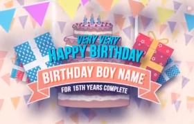 彩旗飄揚兒童生日Patty圖片展示動畫AE模板