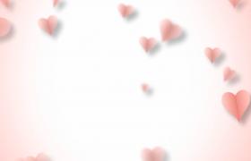 淡粉色愛心紙片夢幻飛舞LOVE告白婚禮特效視頻素材
