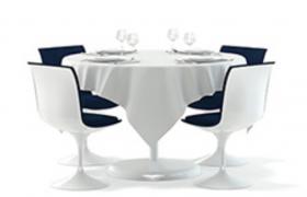 西餐廳餐桌白色四人圓桌桌椅成套套件Cinema4D工程模型