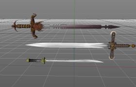 高品质上古战神宝剑Cinema4D武器模型展示(含材质)