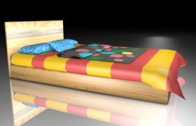 可愛卡通的彩色斑點兒童木質床3D模型(c4d,obj,fpx,3ds)