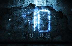 墙壁碎裂动态背景数字闪耀光效演绎10秒倒计时视频