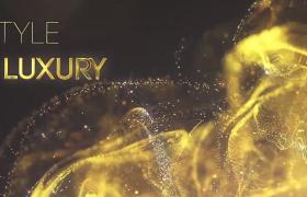 海浪樣式的金色粒子頒獎典禮文字動畫AE模板