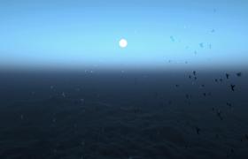深藍廣闊大海翻涌海鳥群上空自由飛舞MOV視頻素材