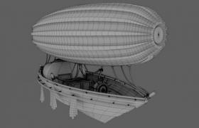 流線型艇體線性效果設計天空飛艇Cinema4D工程模型