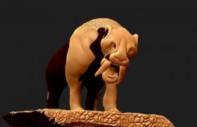 中新世擁有巨大獠牙的大型肉食性貓科動物劍齒虎C4D模型