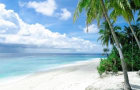 白色沙子海滩唯美海滨风景MP4实拍视频素材