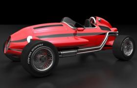 基于阿尔法罗密欧12C-1936设计灵感的FV卡通玩具汽车国外老爷车C4D模型