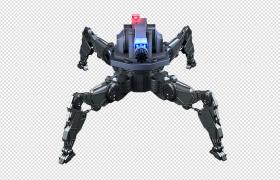 紅燈警示四爪攻擊型科幻機器人C4D OBJ FPX模型(含貼圖)