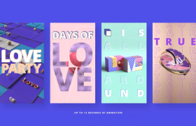 竖屏手机版I Love You 3D字体表白特效动画PR视频模板