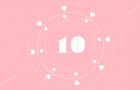 粉绿颜色切换爱心信封趣味动画演绎甜美10秒倒计时视频